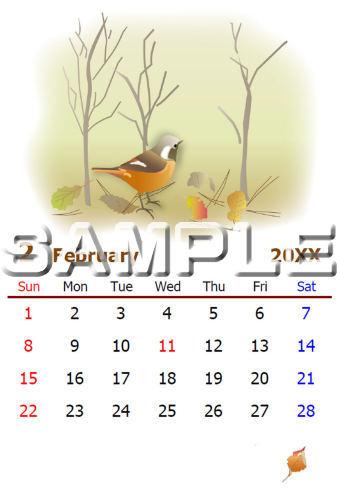 塗り絵カレンダー(2月) -はがきサイズ