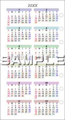 年間カレンダー(手帳用リフィル)