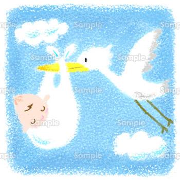 幸せを運ぶコウノトリのイラスト