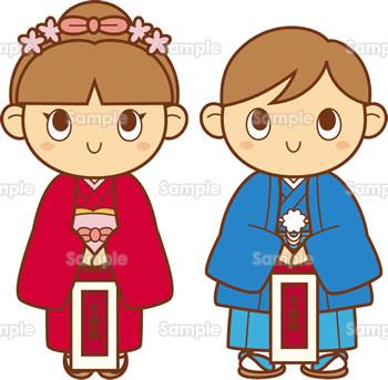 七五三(千歳飴を持つ女の子と男の子)