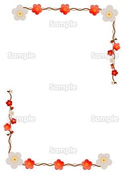 紅白の梅の花の飾り枠