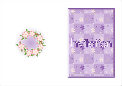 桜と格子柄の結婚式招待状