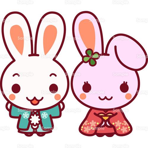 きものを着たウサギのイラスト