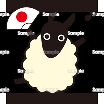 白い羊の無料イラスト