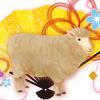 羊と金色の扇のゴージャスな年賀状