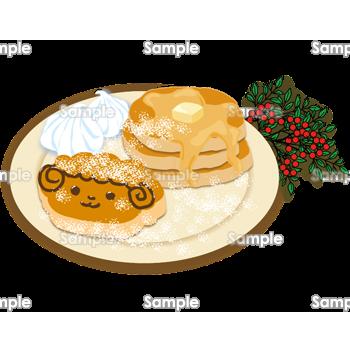 羊のお絵かきパンケーキイラスト